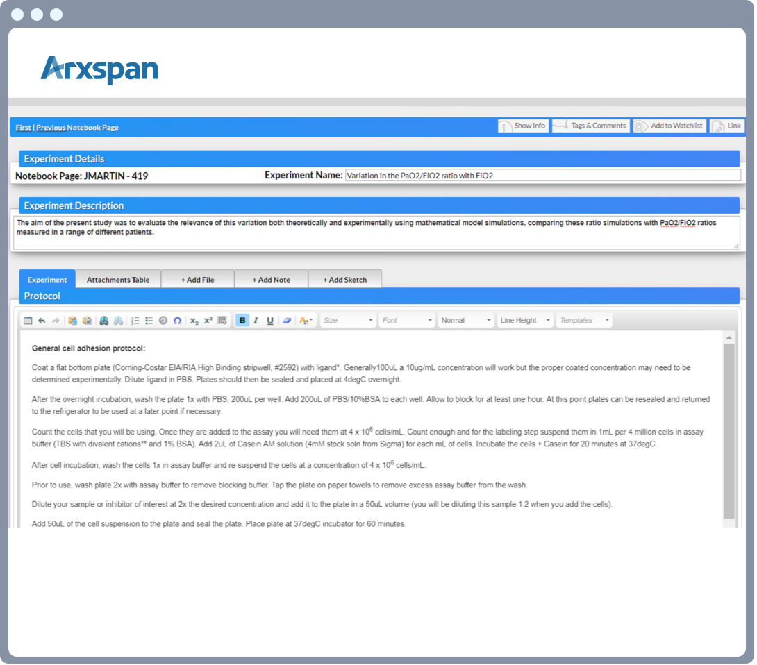 Arxspan ELN notebook